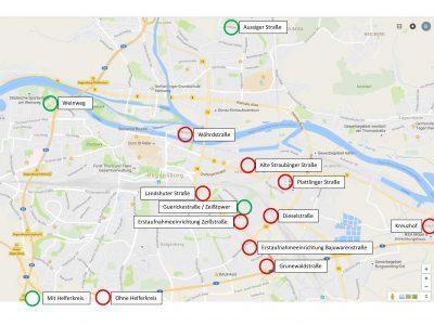 Verteilung der Gemeinschaftsunterkünfte im Stadtgebiet
